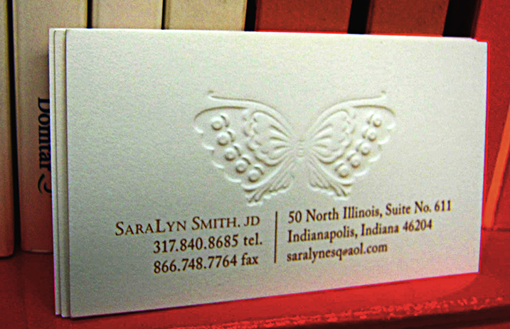 Embossed and printed card.